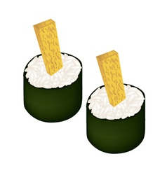 Fried egg sushi roll or tamagoyaki maki vector