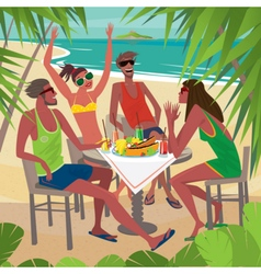 Friends eating breakfast at a table on the beach vector image vector image