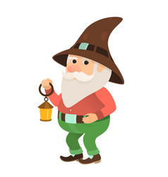 Garden gnome with a small flashlight oil lamp vector