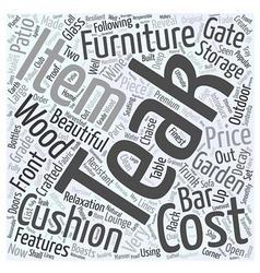 Garden teak furniture word cloud concept vector