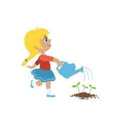 Girl watering flower bed vector