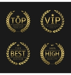 Golden laurel wreath labels vector
