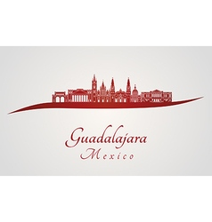 Guadalajara skyline in red vector image vector image