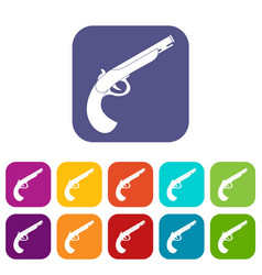 Gun icons set flat vector