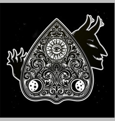 Hand drawn vintage magic ouija devil board oracle vector