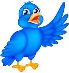 happy blue bird waving wings vector image vector image