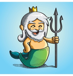 Happy cute poseidon vector