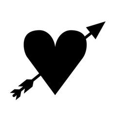 Heart love with arrow romantic icon vector
