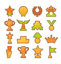 Icons set of golden sport award cups in vector