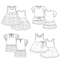 Kids dresses sketch vector