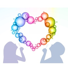 Man and woman inflate bubbles in the form of heart vector image