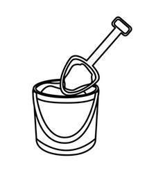Monochrome contour of bucket sand and shovel vector