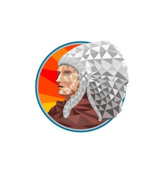 Native american indian chief warrior low polygon vector