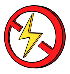 No lightning icon cartoon vector