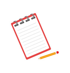 notebook with pencil isolated icon vector image