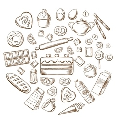 Pastry dessert and bakery sketch icons vector
