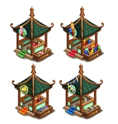 Pavilions in oriental style with firecrackers vector