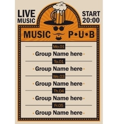 Poster for the pub with live music vector