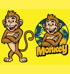 set of cartoon monkey character vector image vector image