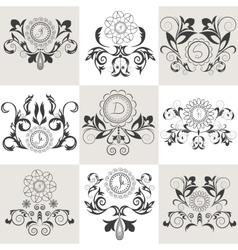 Set of emblems floral ornament vector image vector image