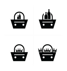 shopping bags set with drink icon vector image vector image
