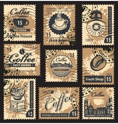 stamps on coffee house vector image vector image