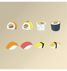 Sushi set asian food vector