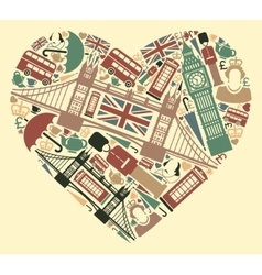 The symbols of the UK in the shape of a heart vector image vector image