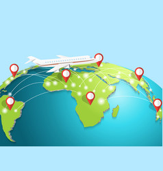 travelling by airplane around the globe vector image vector image