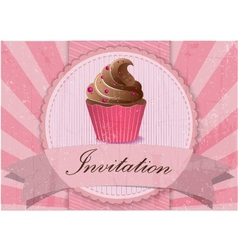 Vintage cupcake background vector