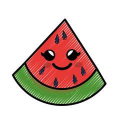 Watermelon cartoon smiley vector