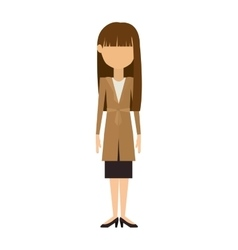 Woman in dress and long brunette hair vector