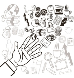 Business hand and icon set business vector