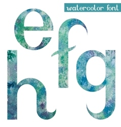 Green-blue watercolor font efgh vector
