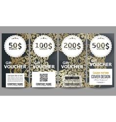 Set of modern gift voucher templates golden vector