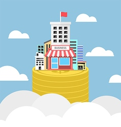 Business building growing on dollar coins vector image