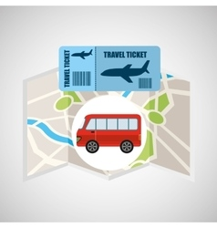 Airline ticket map travel bus transportation vector