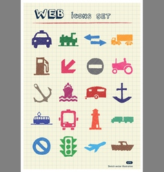 Sea work road transport and signs vector