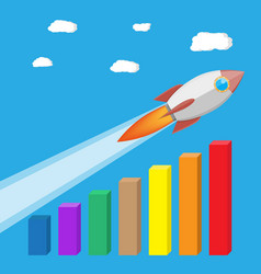 Rocket flying up on growth chart vector