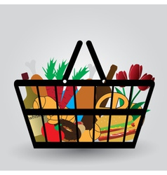 Shopping cart with foodstuffs icons eps10 vector