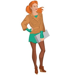 Cartoon young woman in brown jacket and green vector