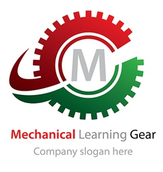 Abstract mechanical learning gear logo vector
