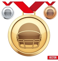Gold medal with the symbol of a football inside vector