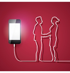 Mobile phone with charger man and woman connection vector