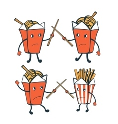 Funny characters chinese food boxes and french vector