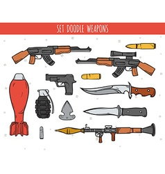 Big doodle set of weapon shells handwork bombs vector