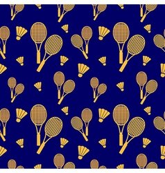 Seamless pattern with orange rackets and birdies vector