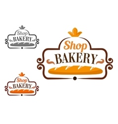 Bakery shop icon with cartouche and loaf vector