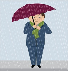 A man in the rain vector