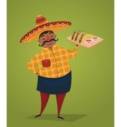Mexican chef with tacos cartoon character vector